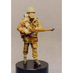 Airborne soldier walking with rifle