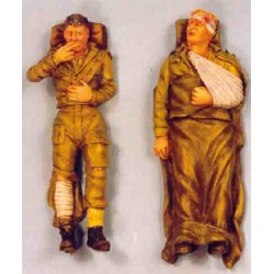 Two wounded soldiers lying