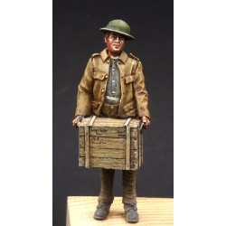 357016 Soldier with wooden box