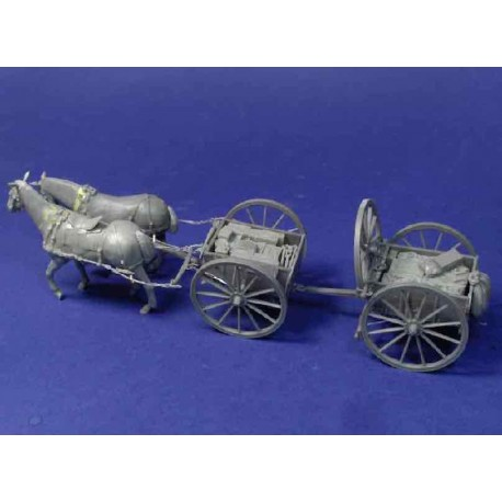 Limbered wagon with horses and load
